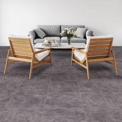 Brushed Cement Charcoal Ceramic